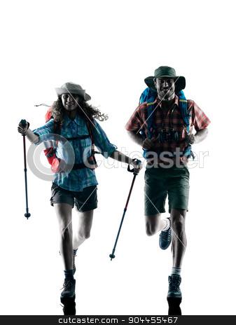 couple trekker trekking running happy silhouette stock photo, one caucasian couple trekker trekking running happy  in silhouette isolated on white background by Ishadow
