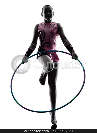 Rhythmic Gymnastics  little girl child    stock photo, one caucasian little girl child  exercising Rhythmic Gymnastics in silhouette isolated on white background by Ishadow