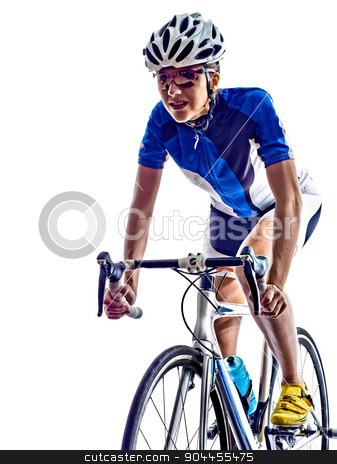 woman triathlon ironman athlete cyclist cycling stock photo, woman triathlon ironman athlete  cyclist cycling on white background by Ishadow