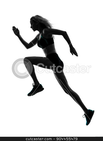 woman runner running jogger jogging silhouette stock photo, one caucasian woman runner running jogger jogging  in studio silhouette isolated on white background by Ishadow