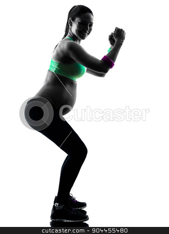 pregnant woman fitness exercises silhouette stock photo, one caucasian pregnant woman exercising fitness exercises  in silhouette studio isolated on white background by Ishadow