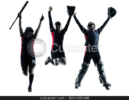 women playing softball players silhouette isolated stock photo, women playing softball players in silhouette isolated on white background by Ishadow