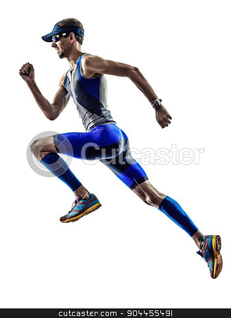 man triathlon ironman athlete runners running stock photo, man triathlon iron man athlete runners running in silhouette on white background by Ishadow