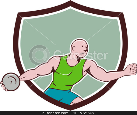 Discus Thrower Crest Cartoon stock vector clipart, Illustration of a discus thrower viewed from the side set inside shield crest on isolated background done in cartoon style.  by patrimonio