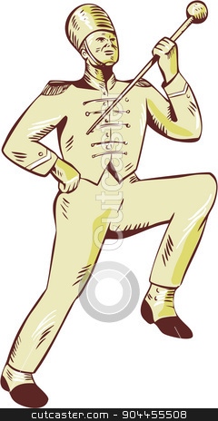 Drum Major Marching Band Leader Etching stock vector clipart, Etching engraving handmade style illustration of a drum major marching band leader holding baton raising viewed from front set on isolated white background. by patrimonio