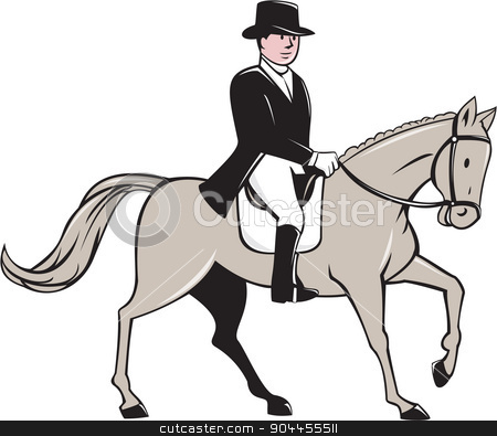 Equestrian Rider Dressage Cartoon stock vector clipart, Illustration of an equestrian rider wearing tophat riding horse dressage viewed from the side set on isolated white background done in cartoon style.   by patrimonio