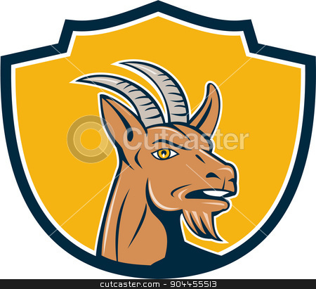 Mountain Goat Head Shield Cartoon stock vector clipart, Illustration of mountain goat head looking to the side set inside shield crest on isolated background done in cartoon style.  by patrimonio