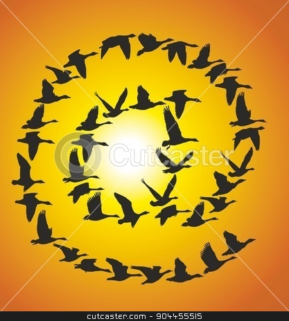 Sign Post of flying geese at sunset stock vector clipart, Flock Flying Geese on blue sky in the shape at sign post by Čerešňák