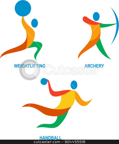 Archery Weightlifting Handball Icon stock vector clipart, Icon illustration showing athlete playing the sport of weightlifting, archery and handball.  by patrimonio