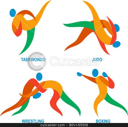 Judo Taekwondo Boxing Wrestiling Icon stock vector clipart, Icon illustration showing athlete playing the sport of judo, taekwondo, boxing and wrestling.  by patrimonio