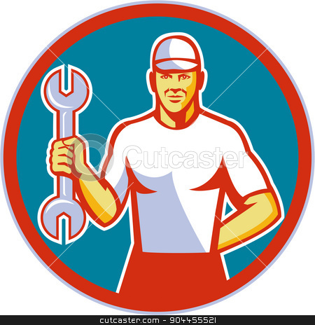 Mechanic Holding Wrench Circle Retro stock vector clipart, Illustration of a mechanic wearing hat holding wrench facing front set inside circle on isolated background done in retro style.  by patrimonio