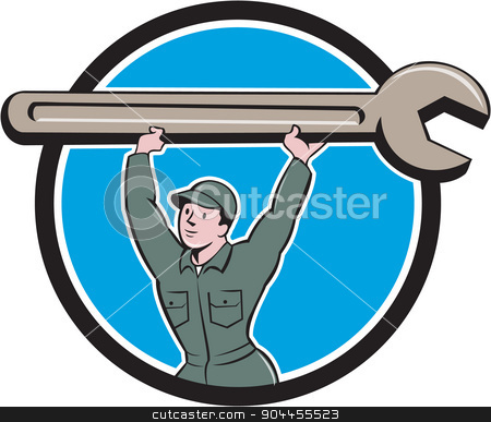 Mechanic Lifting Spanner Wrench Circle Cartoon stock vector clipart, Illustration of a mechanic wearing hat and overalls looking to the side lifting giant spanner wrench over head viewed from front set inside circle on isolated background done in cartoon style.  by patrimonio
