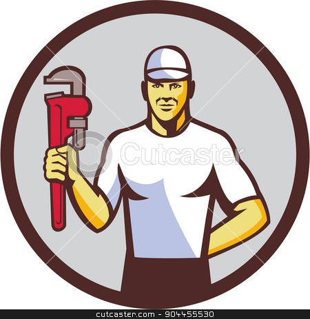 Plumber Holding Monkey Wrench Circle Retro stock vector clipart, Illustration of a plumber wearing hat holding monkey wrench facing front set inside circle on isolated background done in retro style.  by patrimonio