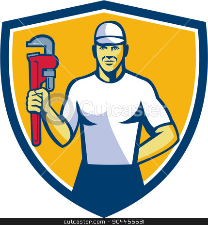 Plumber Holding Monkey Wrench Shield Retro stock vector clipart, Illustration of a plumber wearing hat holding monkey wrench facing front set inside shield crest on isolated background done in retro style.  by patrimonio