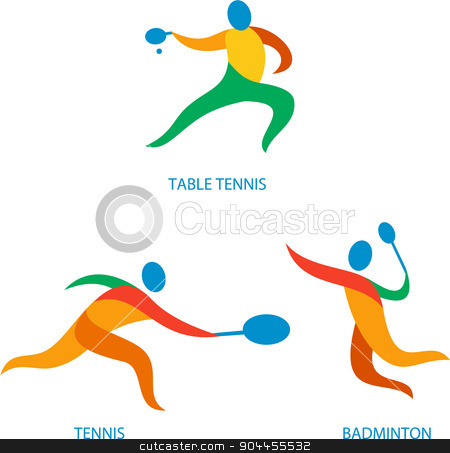 Table Tennis Badminton Icon stock vector clipart, Icon illustration showing athlete playing the sport of tennis, table tennis and badminton. by patrimonio