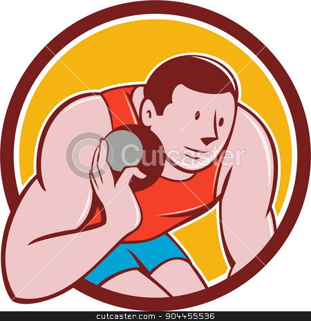 Shot Put Track and Field Athlete Circle Cartoon stock vector clipart, Illustration of a track and field shot put athlete ready to throw ball viewed from front set inside circle on isolated background done in cartoon style. by patrimonio