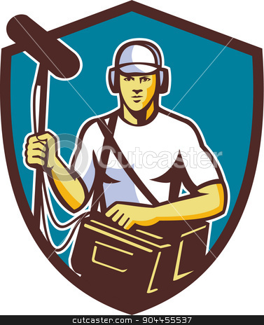 Soundman Film Crew Microphone Crest Retro stock vector clipart, Illustration of a soundman film crew worker with headphone carrying bag holding a telescopic microphone facing front set inside shield crest on isolated background done in retro style. by patrimonio