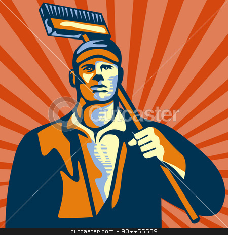 Street Cleaner Holding Broom Front Retro stock vector clipart, Illustration of a street cleaner worker holding a broom on shoulder viewed from front set inside square shape with sunburst in the background done in retro style. by patrimonio