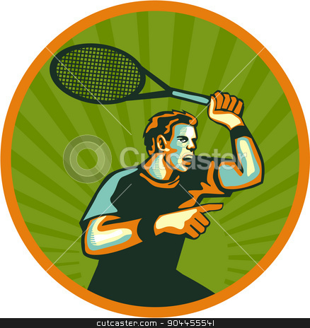 Tennis Player Racquet Circle Retro stock vector clipart, Illustration of a tennis player holding racquet pointing viewed from the side set inside circle done in retro style.  by patrimonio
