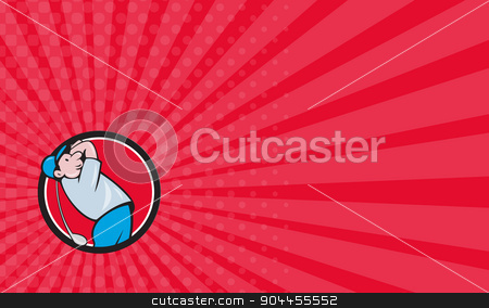 Business card Golfer Swinging Club Circle Cartoon stock photo, Business card showing illustration of a golfer playing golf swinging club tee off looking up viewed from the side et inside circle on isolated background done in cartoon style.  by patrimonio