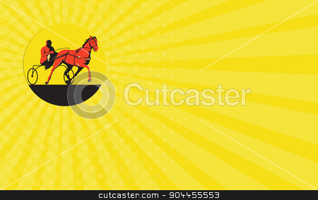 Business card Horse and Jockey Harness Racing Circle Retro stock photo, Business card showing illustration of a horse and jockey harness racing viewed from the side set inside circle on isolated background done in retro style. by patrimonio