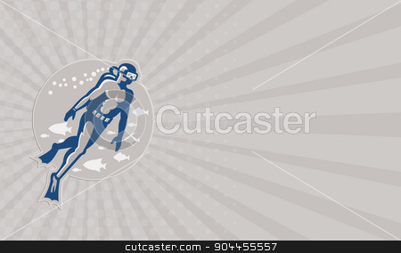 Business card Scuba Diver Diving Retro stock photo, Business card showing illustration of a scuba diver diving swimming up set inside circle done in retro style on isolated white background. by patrimonio