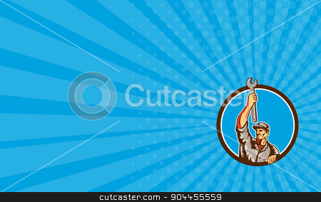 Business card Mechanic Raising Up Spanner Circle Retro stock photo, Business card showing illustration of a mechanic lifting raising up spanner wrench looking to the side set inside circle on isolated background done in retro style.  by patrimonio