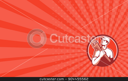 Business card Tradesman Plumber Wrench Circle Retro stock photo, Business card showing illustration of a tradesman plumber holding adjustable monkey wrench on shoulder looking up to the side set inside circle on isolated background done in retro style.  by patrimonio