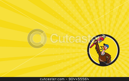 Business card Turkey Plumber Raising Wrench Circle Cartoon stock photo, Business card showing illustration of a turkey plumber looking up raising monkey adjustable wrench set inside circle on isolated background done in cartoon style.  by patrimonio
