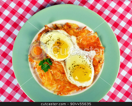Country Breakfast. stock photo, Country breakfast with fried egg and hash browns. by WScott