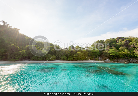 Honeymoon Bay and beach in Similan island, Thailand stock photo, Beautiful green blue sea front small beach at Honeymoon Bay is a famous attractions for diving on Ko Miang island in Mu Koh Similan National Park, Phang Nga Province, Thailand by Yongkiet