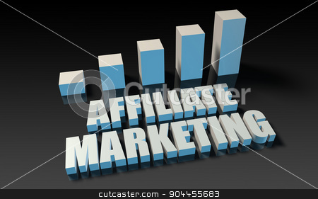 Affiliate marketing stock photo, Affiliate marketing graph chart in 3d on blue and black by Kheng Ho Toh