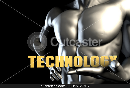 Technology stock photo, Technology With a Business Man Holding Up as Concept by Kheng Ho Toh