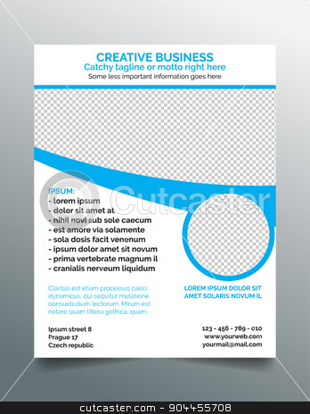Creative modern business flyer template - light blue design stock vector clipart, Creative business flyer template - modern sleek design in light blue- 8.5x11 inches layout. by Michal