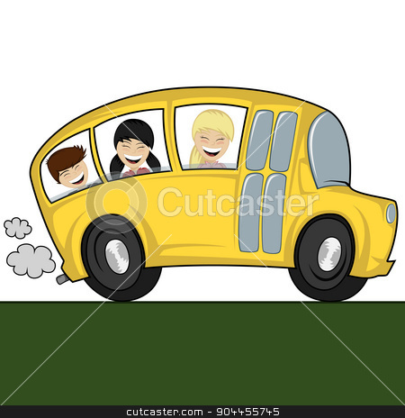 Cool bus stock vector clipart, Funny illustration of a (school) bus with children by arleevector