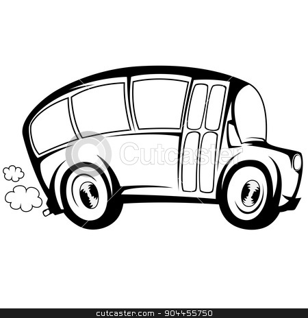 Cool bus stock vector clipart, Silhouette illustration of a (school) bus by arleevector