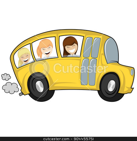 Cool bus stock vector clipart, Funny illustration of a (school) bus with children (girls) by arleevector
