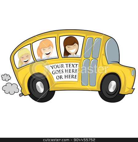 Cool bus stock vector clipart, Funny illustration of a (school) bus with children (girls) - you can place any text on by arleevector