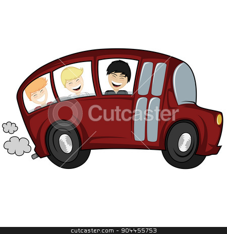 Cool bus stock vector clipart, Funny illustration of a (school) bus with children (boys) by arleevector
