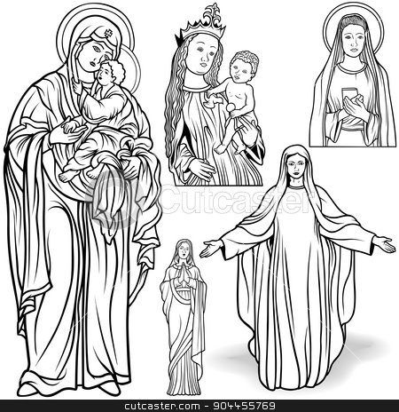 Virgin Mary Set stock photo, Virgin Mary Set - Black and White Outlined Illustrations by derocz