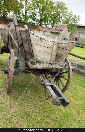 wooden carriage stock photo, Old, wooden horse-drawn carriage with drawbar by Bernd Kröger