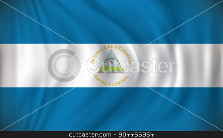 Flag of Nicaragua stock vector clipart, Flag of Nicaragua - vector illustration by ojal_2