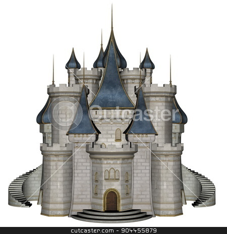 Castle - 3D render stock photo, Beautiful detailed blue and white castle isolated in white background - 3D render by Elenarts