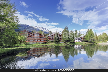 Crans-Montana, Valais, Switzerland stock photo, Chalets and lake at Crans-Montana by beautiful day, Valais, Switzerland by Elenarts