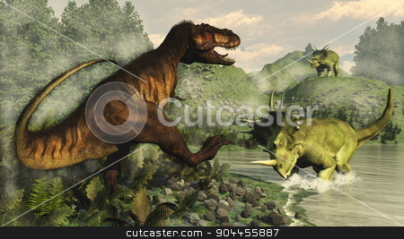 Tyrannosaurus rex fighting against styracosaurus dinosaur - 3D render stock photo, Tyrannosaurus rex fighting against styracosaurus dinosaur next to epicea and nipa vegetation by day  - 3D render by Elenarts