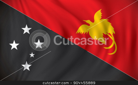 Flag of Papua New Guinea stock vector clipart, Flag of Papua New Guinea - vector illustration by ojal_2