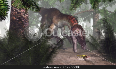 Utahraptor dinosaur hunting a gecko - 3D render stock photo, Utahraptor dinosaur hunting a gecko in a williamsonia forest with onychiopsis plants - 3D render by Elenarts