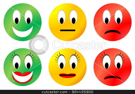 Colorful smiley stock photo, Colorful happy, neutral and unhappy smiley, male and female by Elenarts