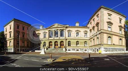 University building, Geneva, Switzerland stock photo, University building front facade in Bastions park by day, Geneva, Switzerland by Elenarts