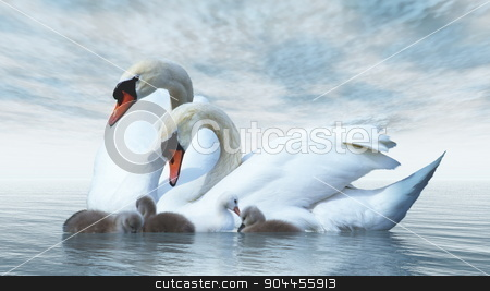 Swan family - 3D render stock photo, Swan family floating over by blue day - 3D render by Elenarts